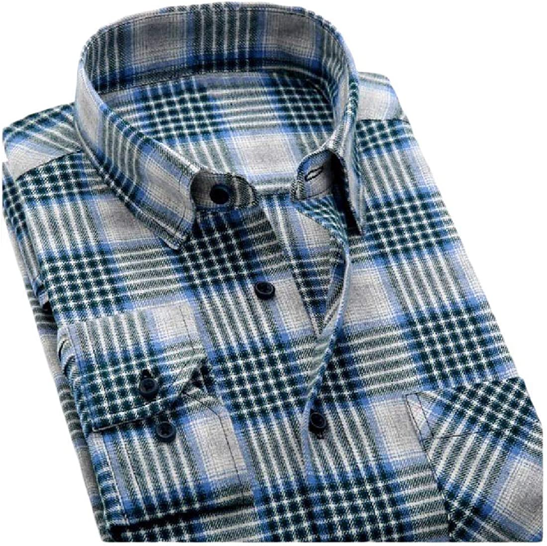 YUNY Mens Long Sleeve Button Slim Fitted Classic Plaid Vogue T-Shirts 12 2XL