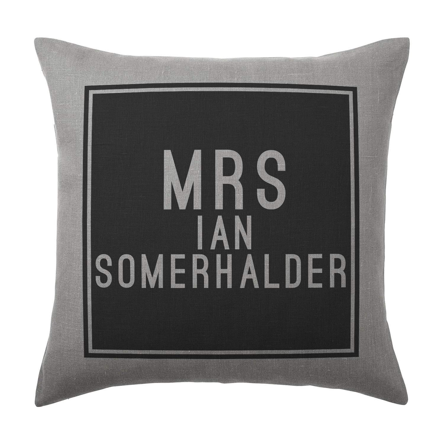 Ian Somerhalder Cushion Pillow - Silver Grey - 100% Cotton - Available with or without filling pad - 40x40cm (Cover and filling pad) The Stocking Fillers