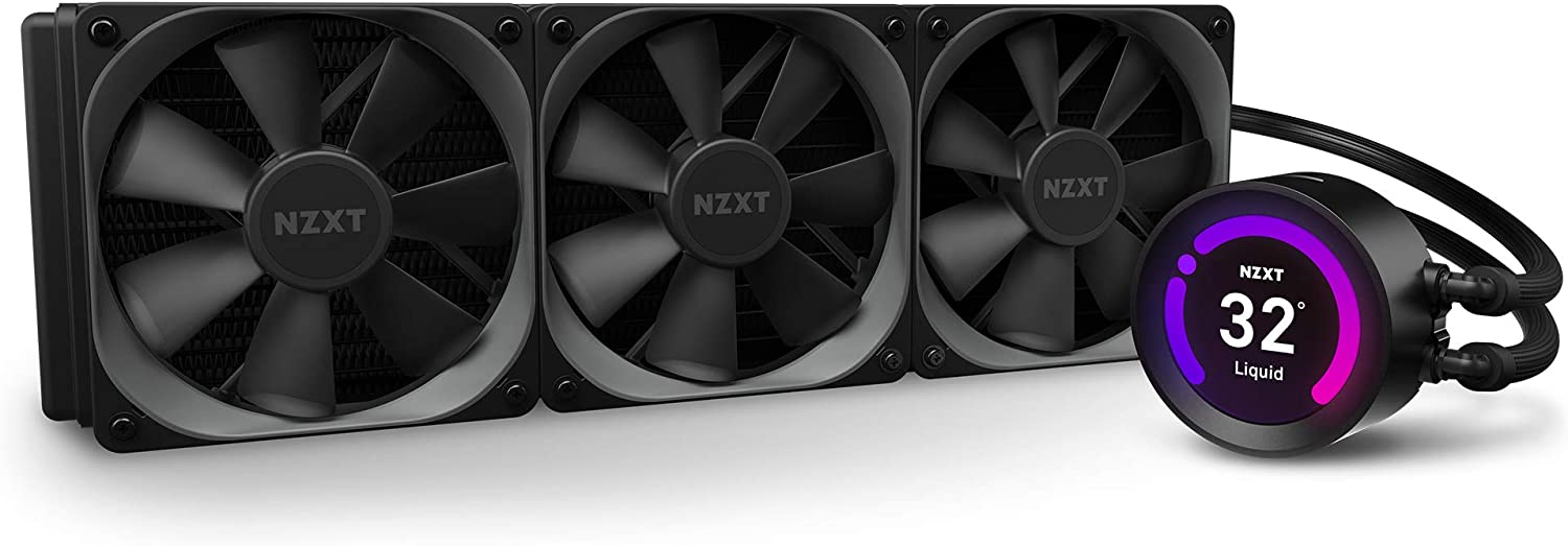 NZXT Kraken Z73 360mm - RL-KRZ73-01 - AIO RGB CPU Liquid Cooler - Customizable LCD Display - Improved Pump - Powered by CAM V4 - RGB Connector - AER P 120mm Radiator Fans (3 Included)