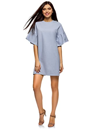 6556bccc533b oodji Ultra Femme Robe Droite avec Manches à Volants  Amazon.fr ...