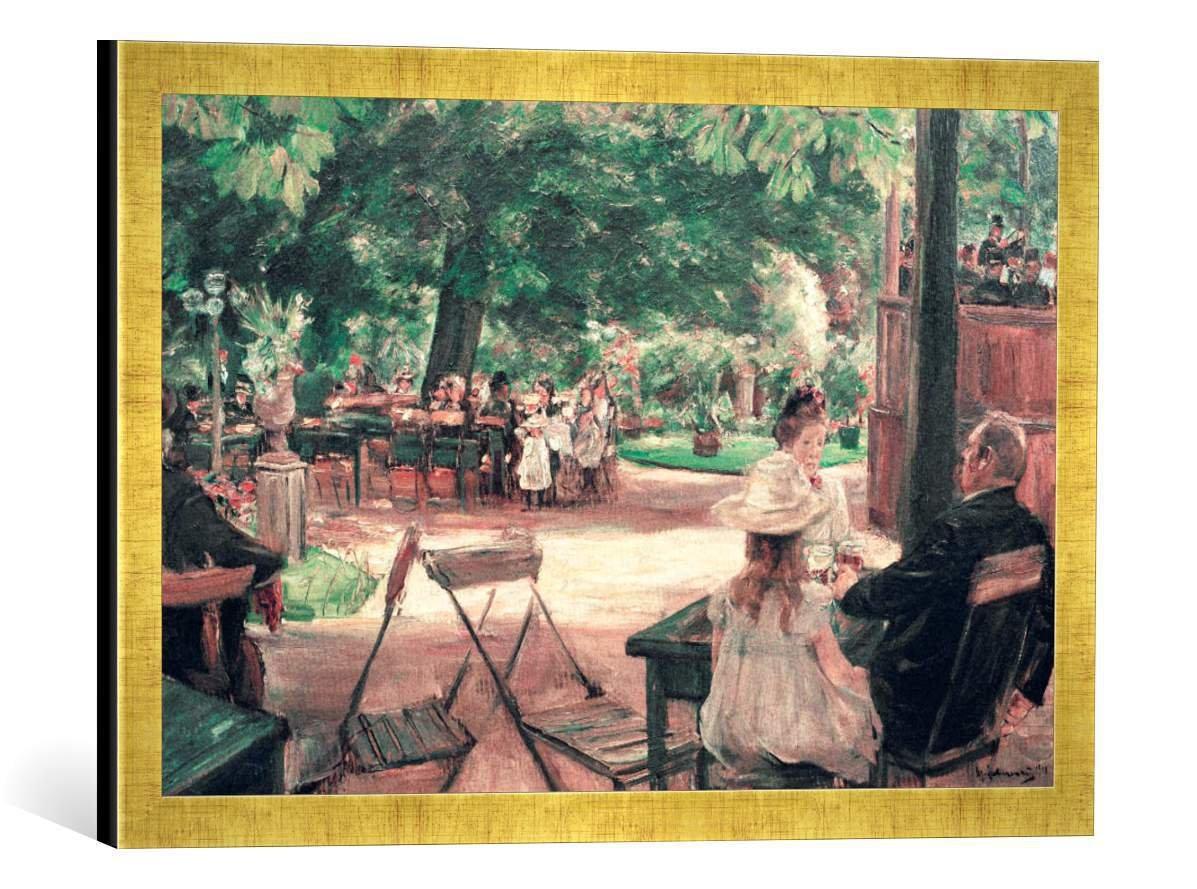 Gerahmtes Bild von Max Liebermann Restaurationsgarten, Kunstdruck im hochwertigen handgefertigten Bilder-Rahmen, 60x40 cm, Gold Raya
