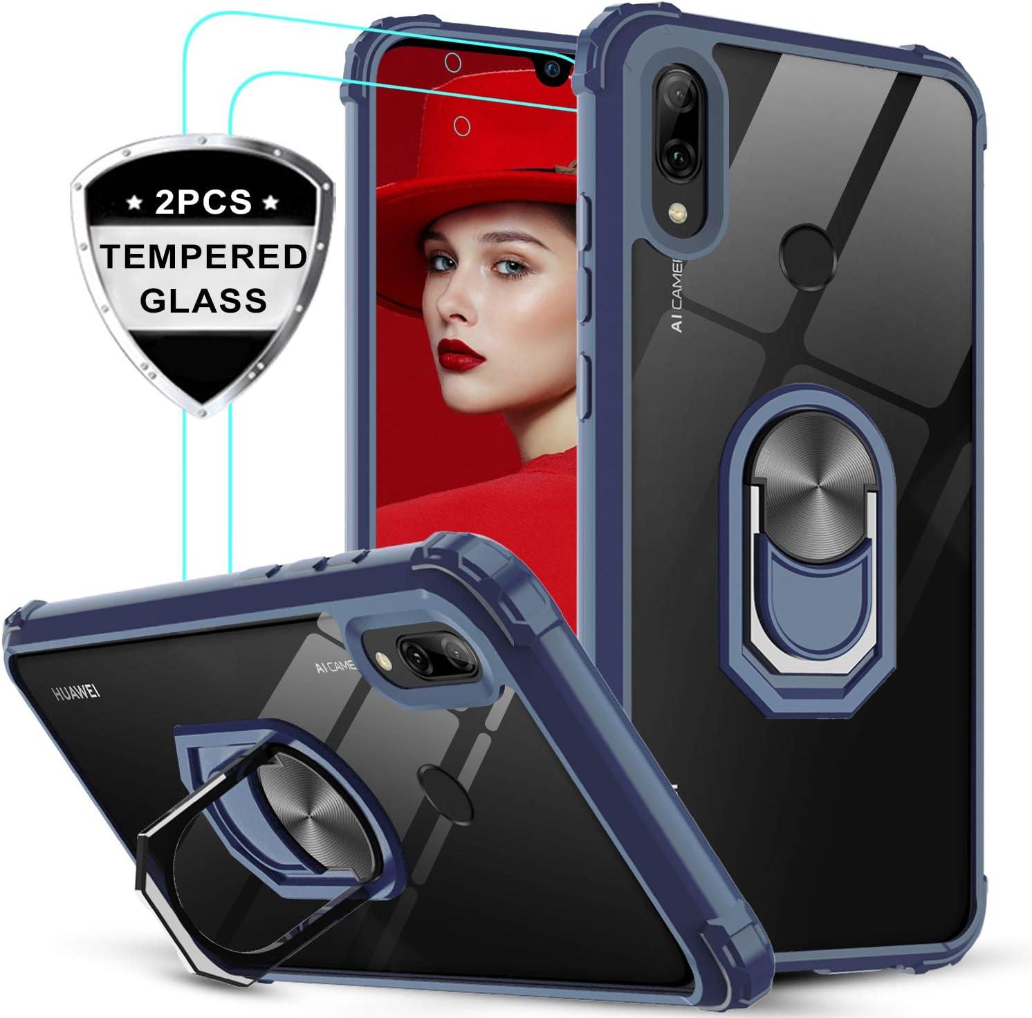 LeYi Funda Huawei P Smart 2019 / Honor 10 Lite con [2-Unidades] Cristal Vidrio Templado,Transparente Carcasa con 360 Grados iman Soporte Silicona Bumper Armor Case para Movil P Smart 2019,Clear Azul