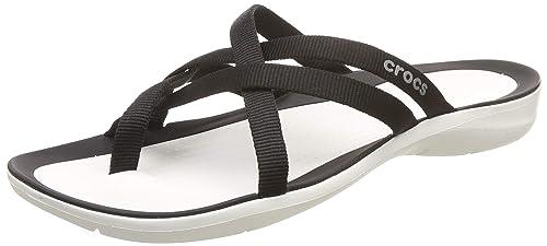 24be144594f0 Crocs Women s Swiftwater™ Webbing Flip Flops Ladies-Choose Size Color  Black White