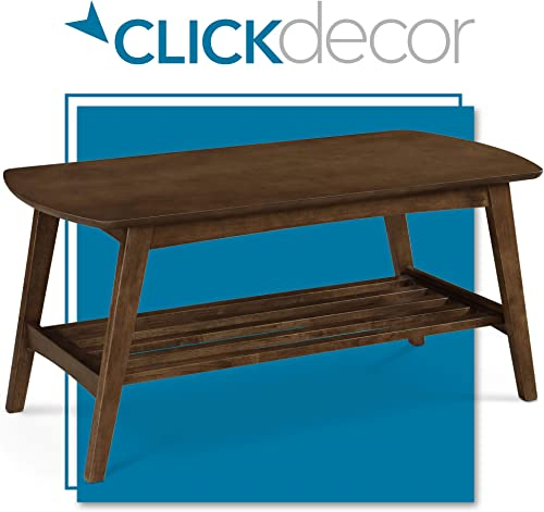 ClickDecor Gaines Wooden Coffee Table with Storage Space, Rectangle Tabletop Mid Century Modern Living Room Accent Furniture with Lower Slatted Shelf, Brown
