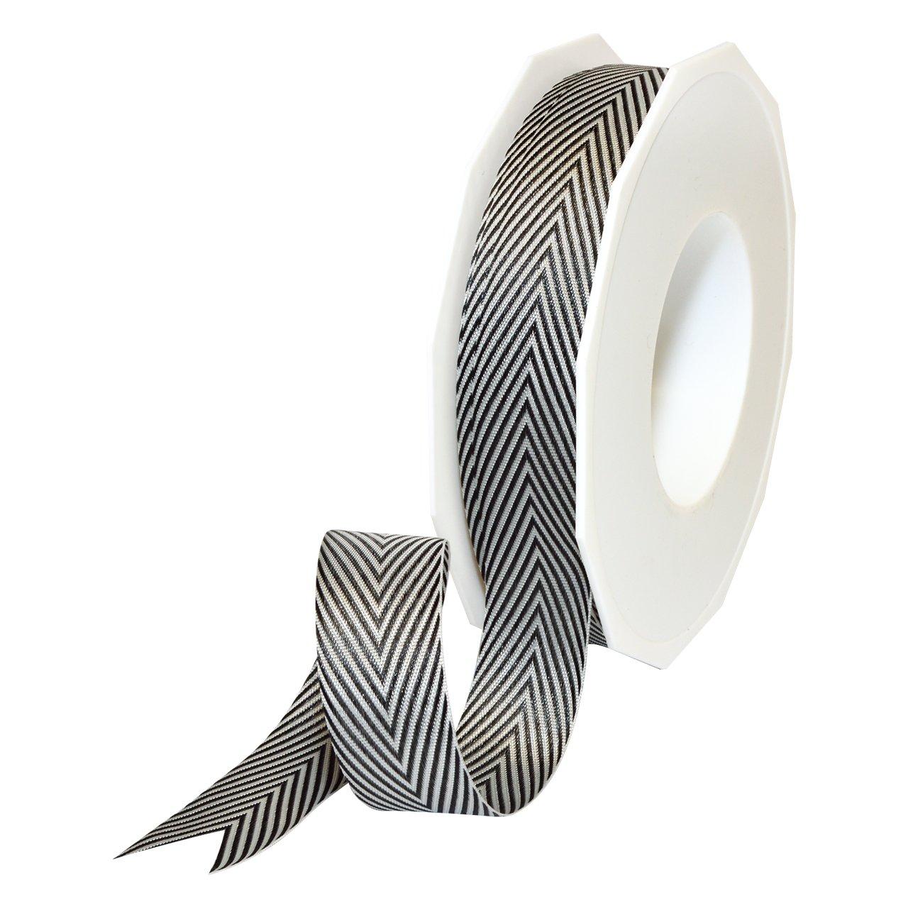 Morex Ribbon 2219.22/25-613 ヘリンボーンポリエステル 7/8インチ x 25ヤード ブラック   B0196D4IY0