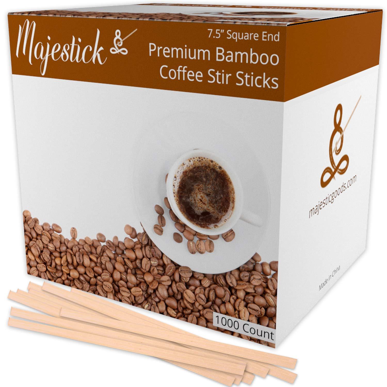 "Bamboo Wooden Coffee Stir Sticks By Majestick | Eco-Friendly Wooden Coffee Stirrers | 7.5"" Bamboo Wood Stick Stirrer 1000/Box"