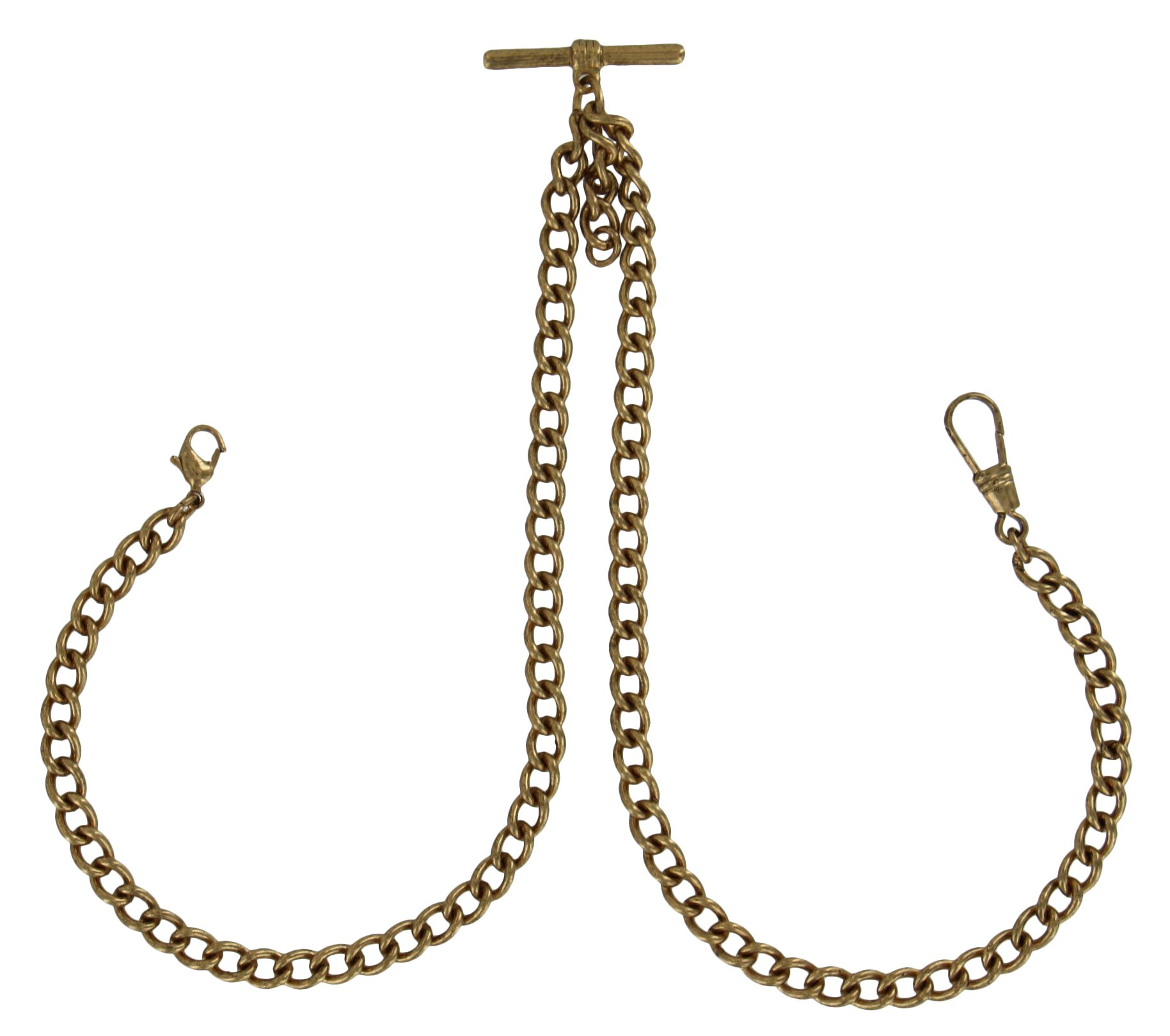 Ky and Co Watch Chain Mens Antiqued Gold Tone Double Albert Pocket