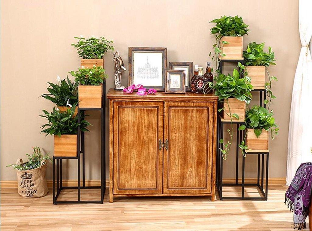 soporte macetas estanterias para macetas Flower Racks de madera maciza de hierro DIY de múltiples capas de flores de piso de flores / Potted balcón interior ...