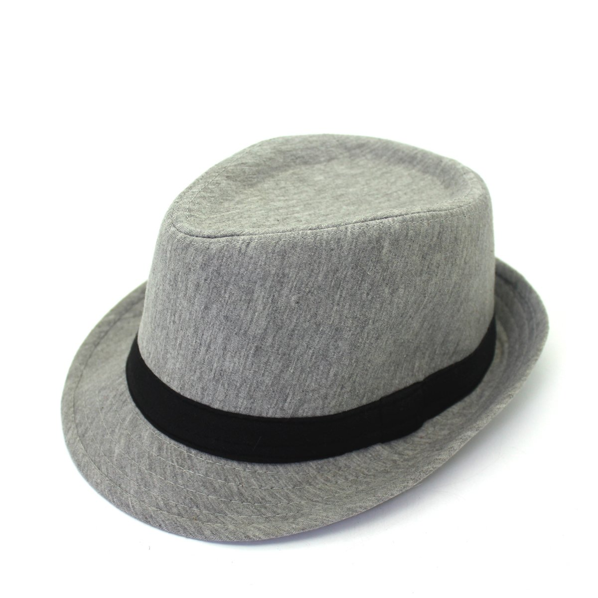 outfly Unisex Fedora Trilby Hat Top Hat Grey 100% Cotton, M 22.1-22.8in B11094-G