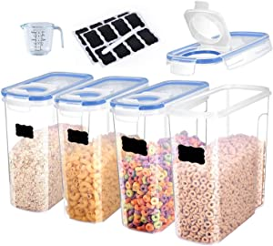 4L Large Cereal Containers Storage Set of 4, Airtight Food grade Plastic Kitchen Storage,Dispenser Keepers,135.2oz for Cereal, Snacks and Sugar with 16 reusable Labels,Marker Pen,Measuring cup