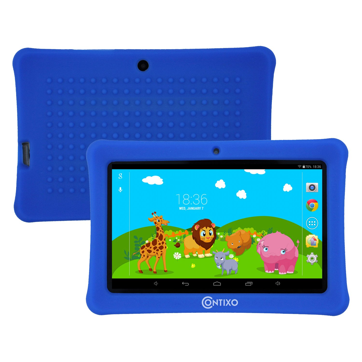 VETERANS DAY SALE! Contixo Kids Safe 7'' HD Quad-Core Tablet W/ KIDOZ, 8GB Bluetooth WiFi, Front & Rear Camera, Free Games, Kids-Place Parental Control, Kid-Proof Case, Best Gift