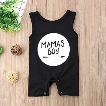 Snap Romper Short Sleeve Outfit Clothes Toddler Baby Boy Mamas Boy Print Bodysuit
