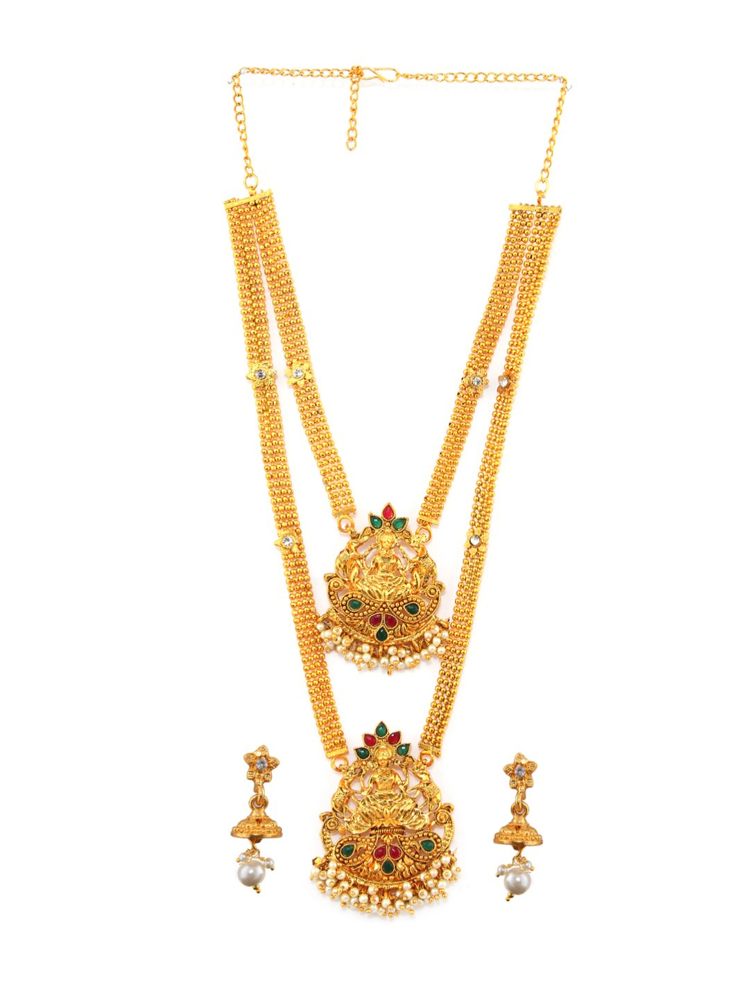 Rubans Gold Plated Traditional Indian Jewelry Set Bollywood Ethnic Wedding Bridal Faux Ruby and Emerald with Pearls Multilayer Long Necklace Set for Women
