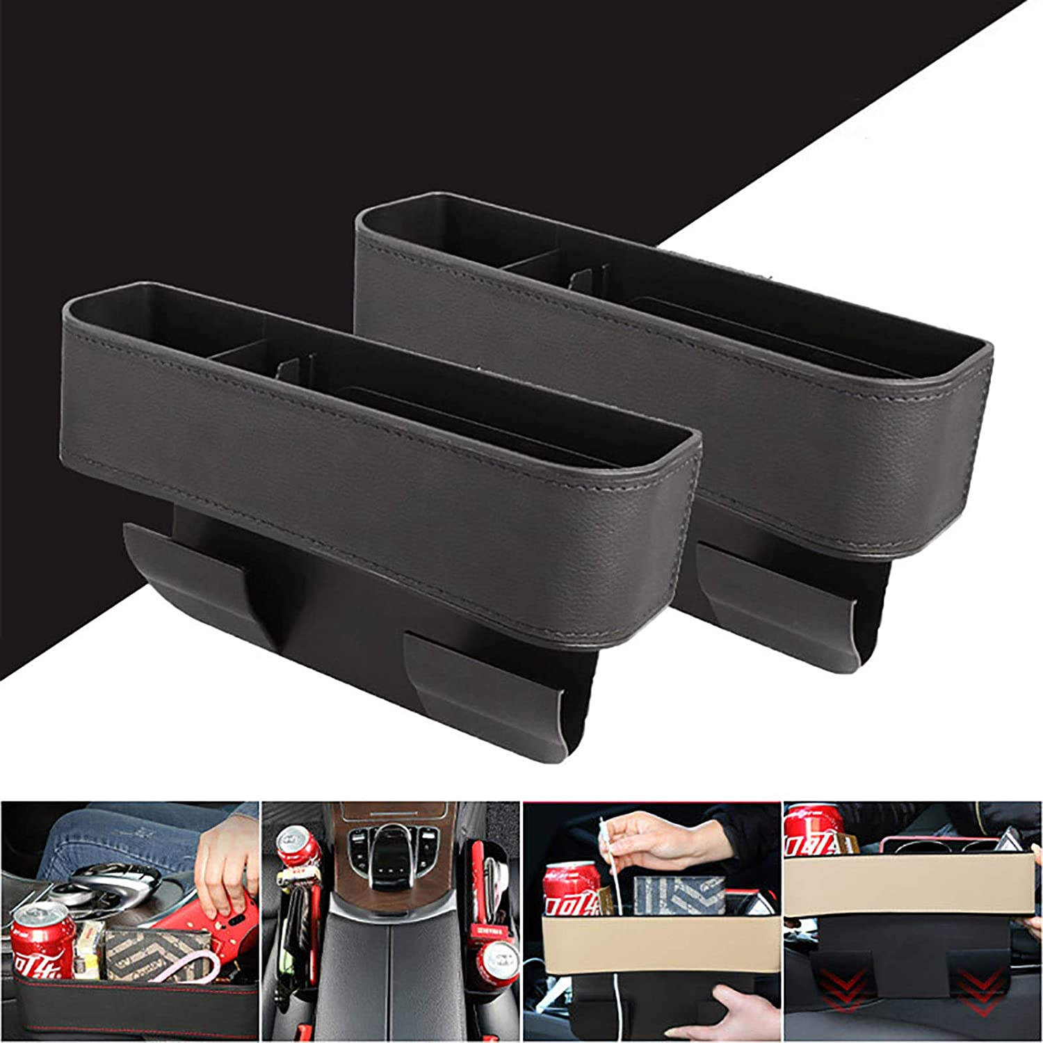 Sunglasses Beige Cards Wallets Keys N\ Car Seat Storage Box,Car Seat Filler,Car Cup Holder Storage Box in Between Car Seat for Cellphones
