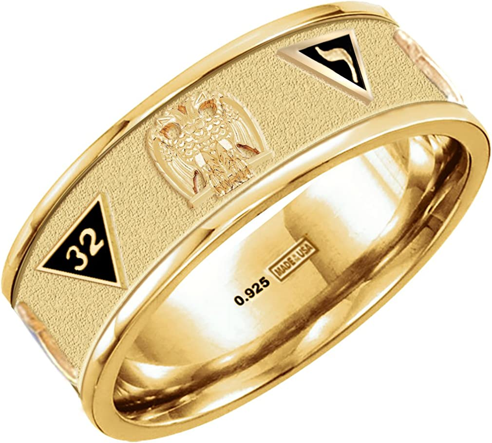 US Jewels And Gems New Customizable up to 8 Emblems 0.925 Sterling Silver or Vermeil Gold Plated Scottish Rite Freemason Ring Band Size 8 to 14