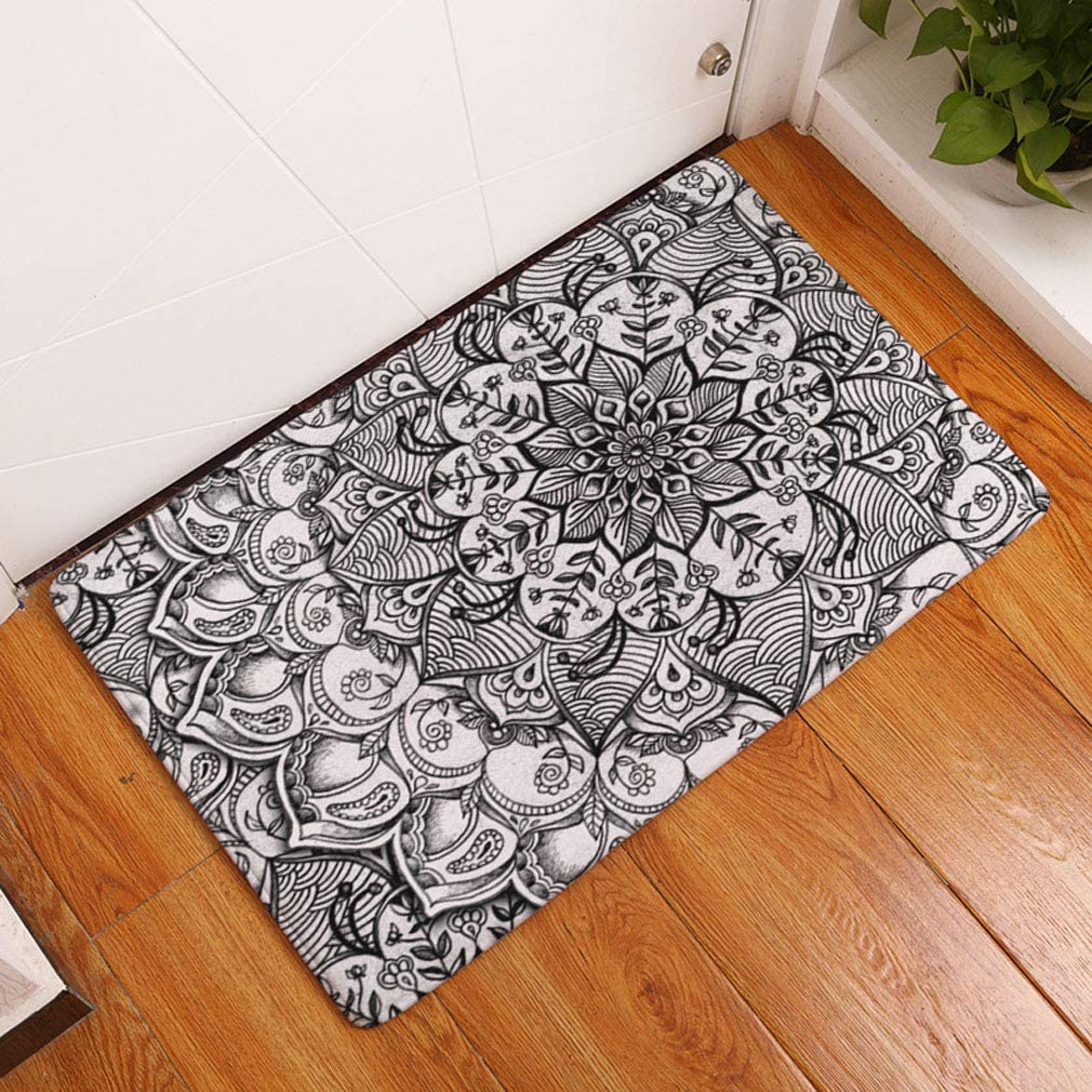 60cm Mandala 1 40 Nunbee Designer Fu/ßmatte Anti Rutsch Unterlage Wasseraufnahme Teppich Praktische Schmutzfangmatte Haust/ür Flur Innenbereich Aussen Lustig Waschbar Weihnachten Katze