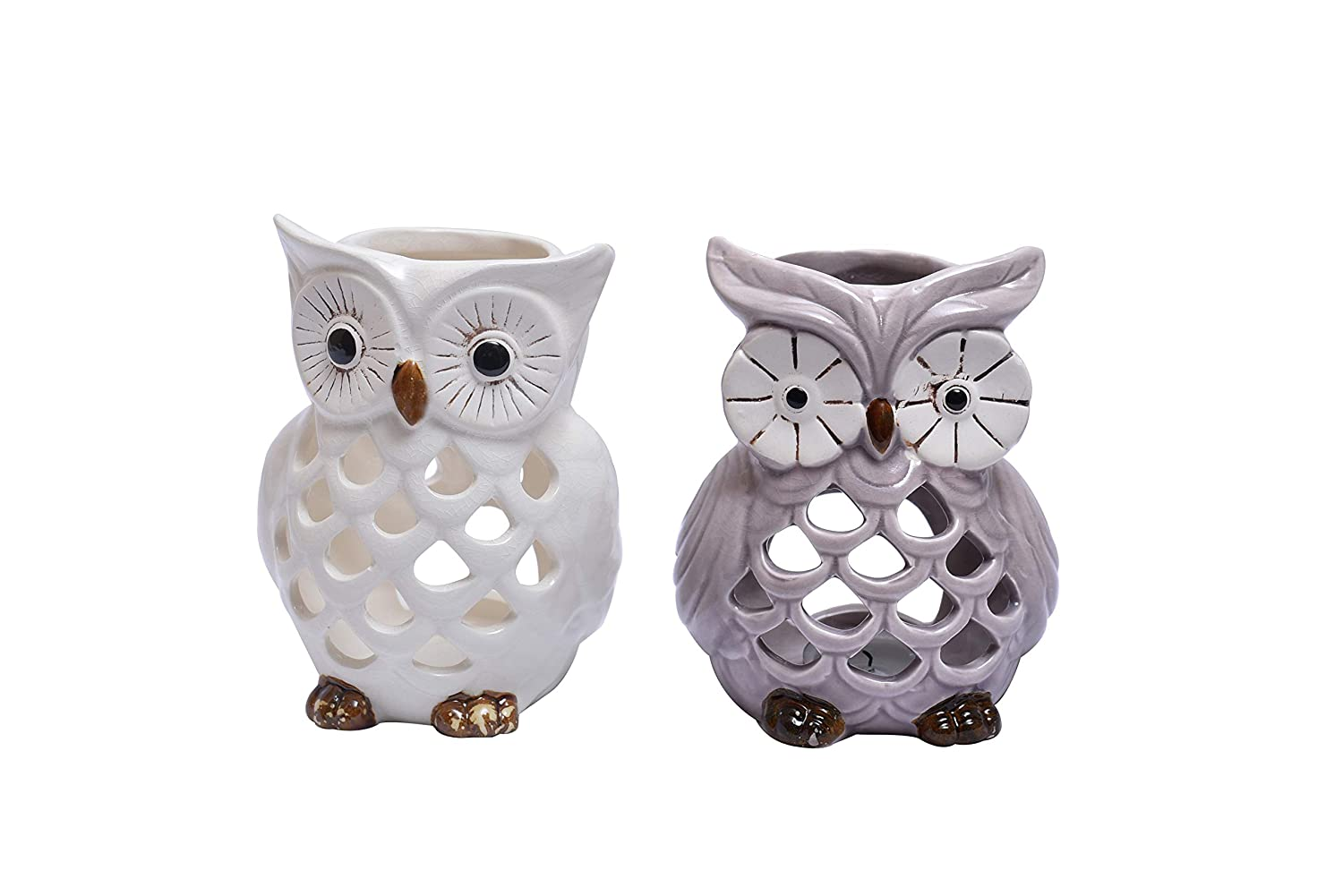 Decozen Lucky Owl Tea Light Holders Set of 2 use with T Light Candles in Vintage and Modern Interiors Home Decor Table D/écor Console Table Side Table Living Room Guest Room Study Room Kitchen Decor