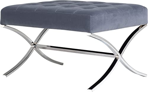 Studio Designs Home 30 W Atrium Modern Tufted Accent Ottoman, Chrome Additional Seating or Footrest for Living Room or Office, Polyester Fabric, Velvet Slate Blue