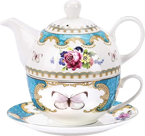 Amazon Com Fanquare English Rose Porcelain Teapot Set Tea For One Set Flora Teapot With Cup And Sacuer Home Kitchen