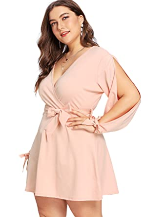 2a49d03632e Milumia Plus Size Cold Shoulder Mini Dress Wrap V Neck Waist Belted Knot  Tie Shift Dress Pink 4X at Amazon Women s Clothing store