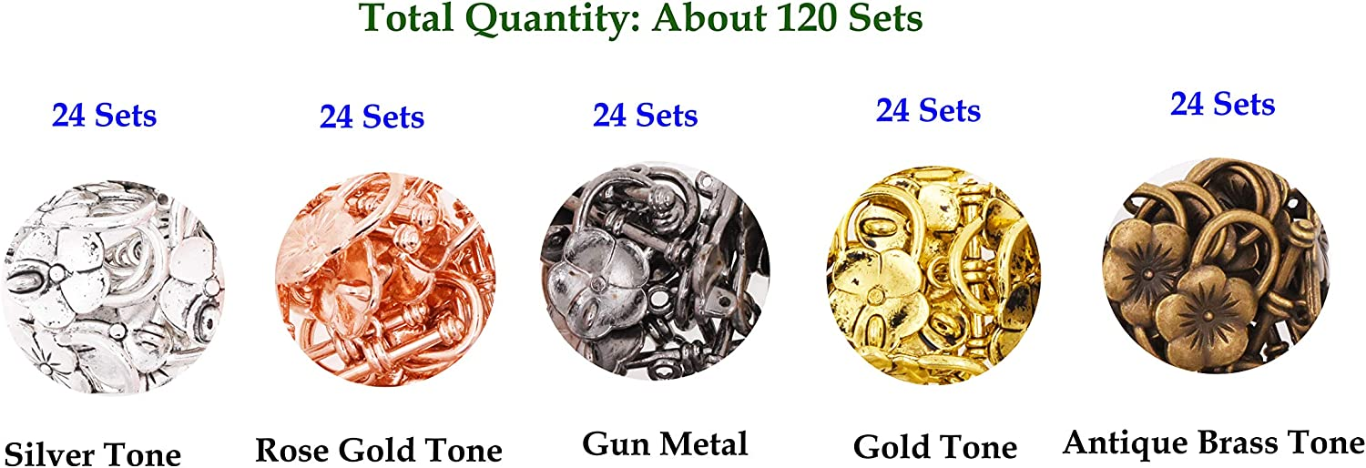 Gold Tone Gunmetal Bronze Silver Round 0.55 Inch 14mm 120 Sets T-Bar Closure from Metal for Jewelry Making in Bulk Mandala Crafts Toggle Clasp Rose Gold