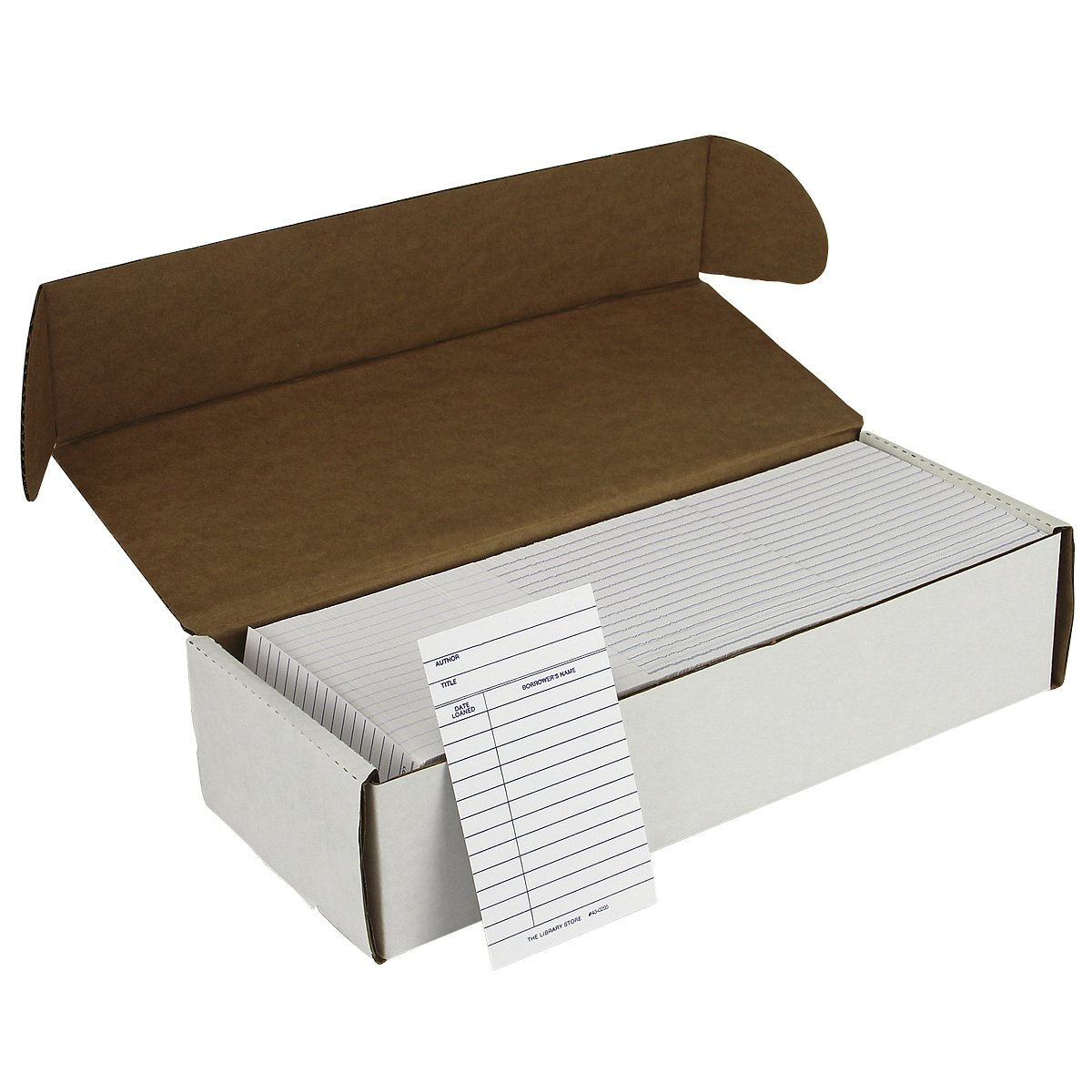 Book Cards White 2 Column with Date Loaned - Medium Weight 1000/pkg