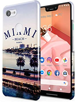 Miami Beach Florida Palms Good Vibes Summer Chill Tumblr Hard Thin Plastic Phone Case Cover For Google Pixel 3 XL: Amazon.es: Electrónica