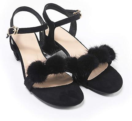 Fur Story Women's Open Toe Heel Sandal