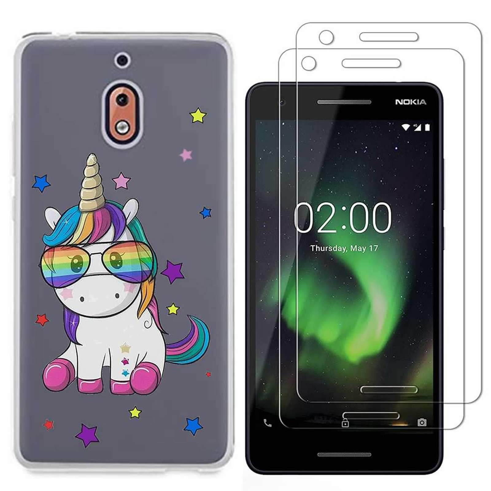 Nokia 2.1 Case with 2 Pack Glass Screen Protector Phone Case for Men Women Girls Clear Soft TPU with Protective Bumper Cover Case for Nokia 2 V-Unicorn