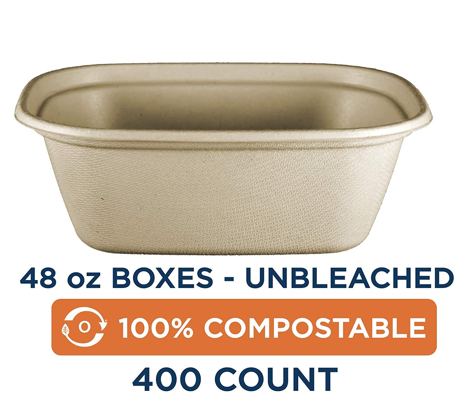 """100% Compostable to-Go Boxes by World Centric, Made from Unbleached Plant Fiber, Great for Takeout, 8.8"""" x 6.8"""" x 3"""", 48 oz, (Pack of 400)"""