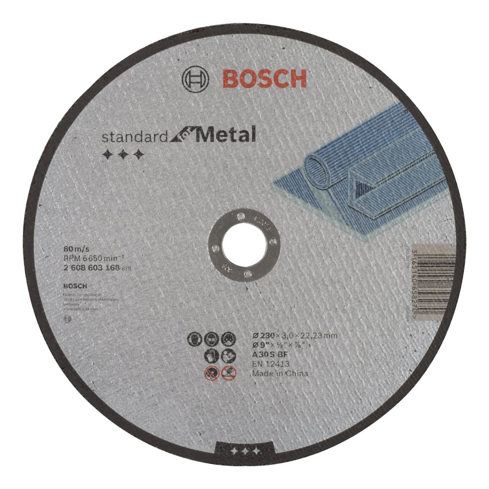 Bosch 2 608 603 168 - Disco de corte recto Standard for Metal - A 30 S BF, 230 mm, 22,23 mm, 3,0 mm (pack de 1) 2608603168