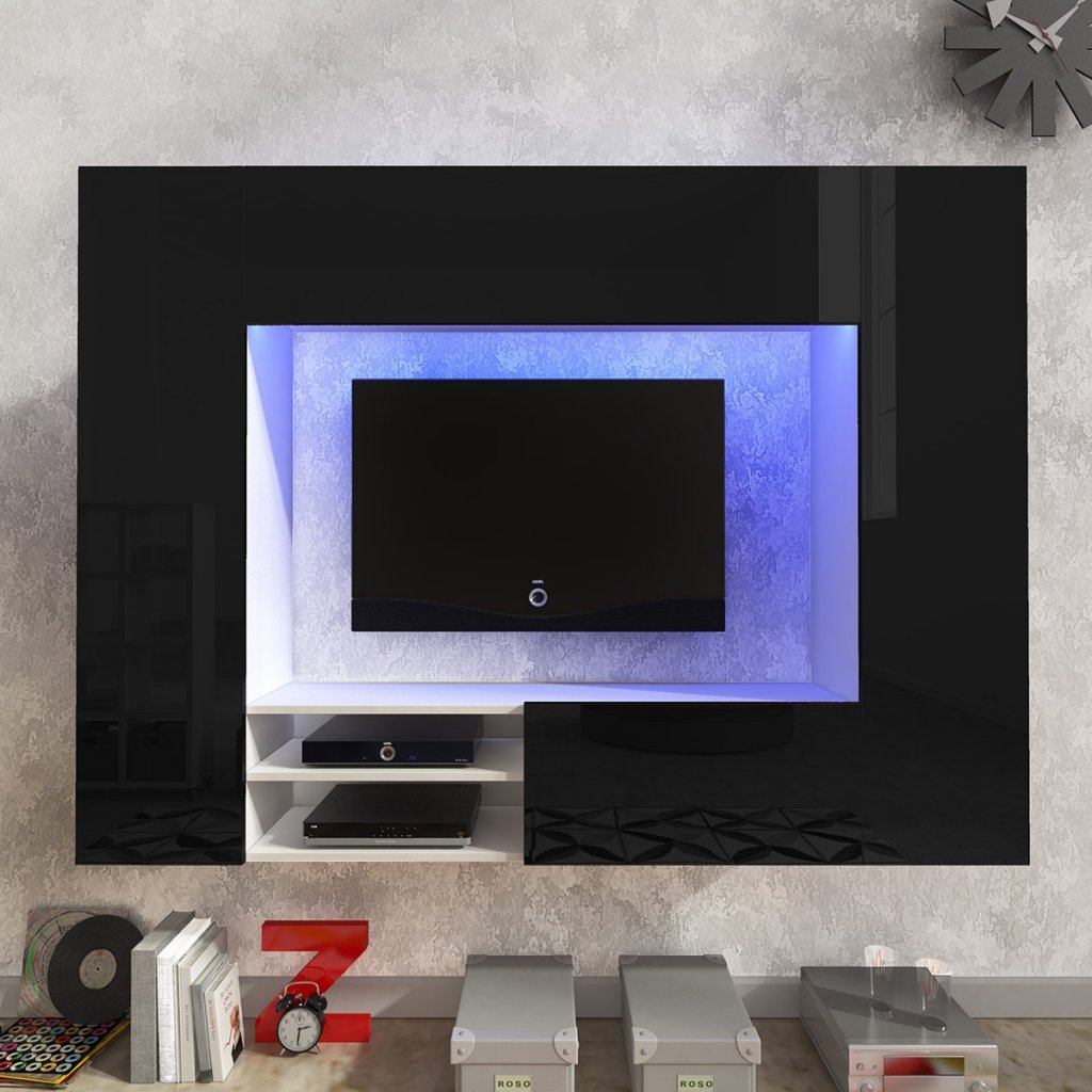 Festnight Hochglanz Mediawand Anbauwand Wohnwand TV-Wand mit LED-Beleuchtung 169,2 x 29,7 x 124,4 cm Schwarz