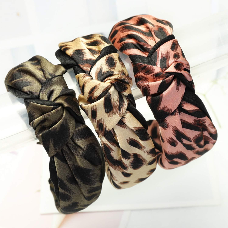 New Leopard Cloth Knot Hairband Bezel Headband for Women Turban Ladies Wide Hair Hoop Girls Hair Bands Accessories,B