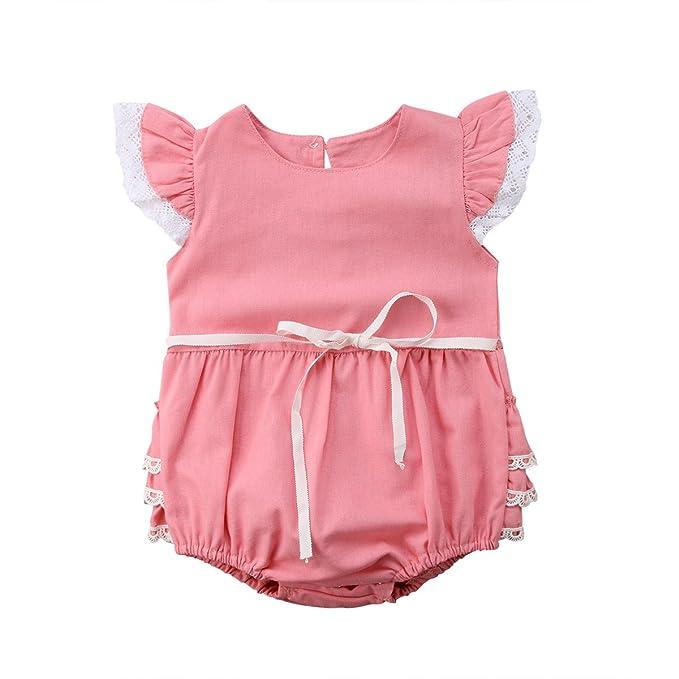 Neugeboren S/äugling Kinder Baby M/ädchen Spielanzug Overall niedlich Spitze Fliegende /Ärmel Spielanzug kurze Hose Outfit Jumpsuit 0-24 Monate