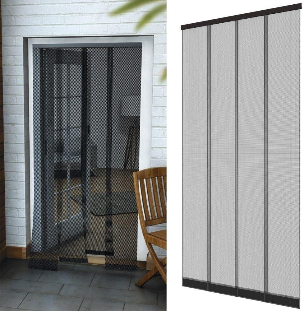 Rideau moustiquaire en fibre de verre et avec des poids cousus Moustiquaire /à lamelles pour portes 100 x 220 cm avec profil en aluminium Couleur:Blanc