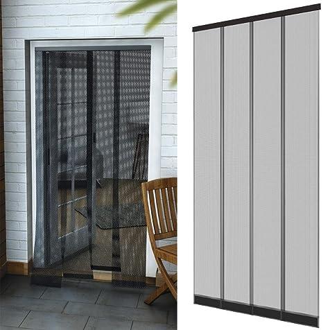 Mosquitera con cortinas en forma de lámina para puertas 95 x 220 cm en antracita - Cortinas de poliéster con pesos cosidos en la parte inferior: Amazon.es: Bricolaje y herramientas