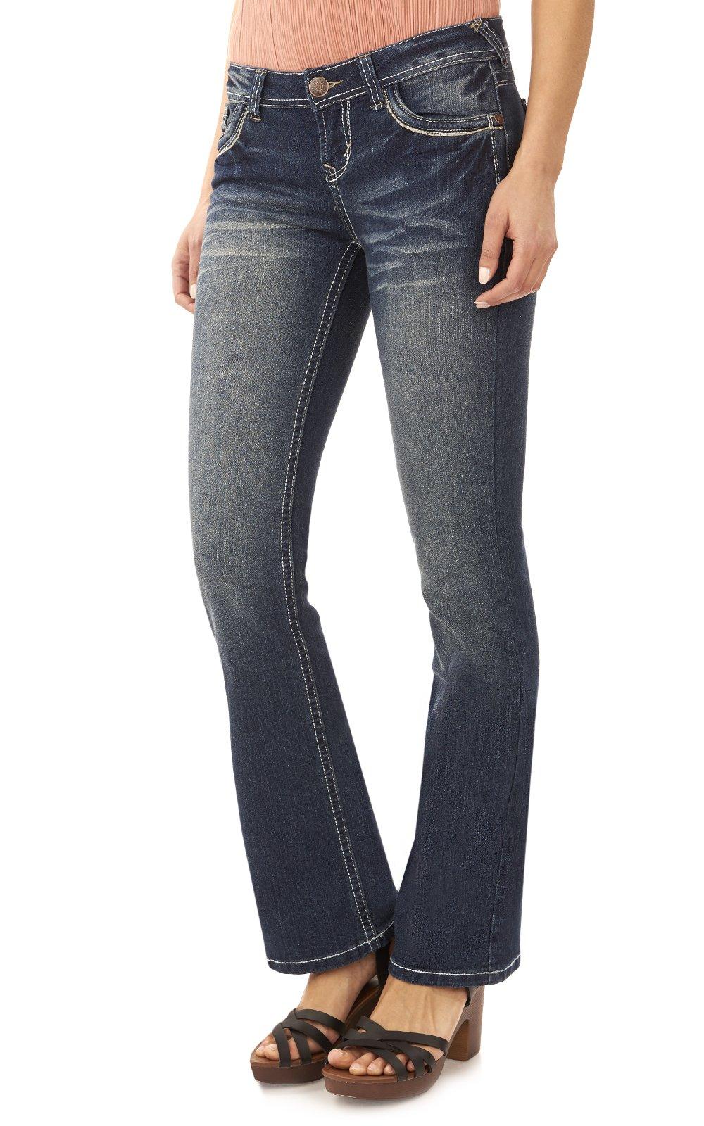 Wallflower Women S Juniors Classic Legendary Stretch Bootcut Denim Jeans Denim Fit