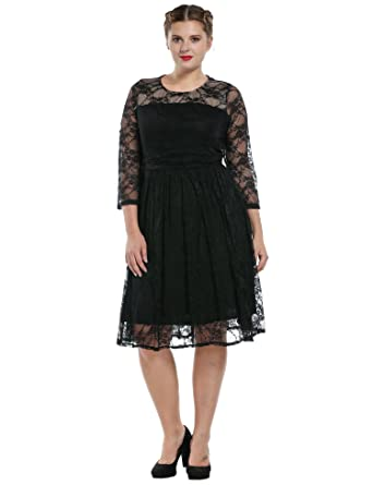Meaneor Womens Plus Size Lace Cocktail Wedding Pleated Dresses