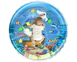 iHaHa 40''X40'' Baby Tummy Time Water Play Mat, Infant Baby Water Mat Toys for 0 3 6 9 12 Months Newborn Infant Toddler Boy G