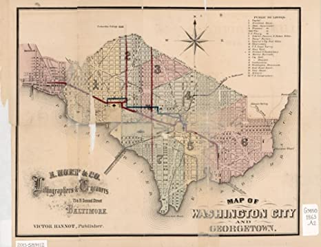 Amazon.com: Vintage 1863 Map of Washington City and Georgetown ...
