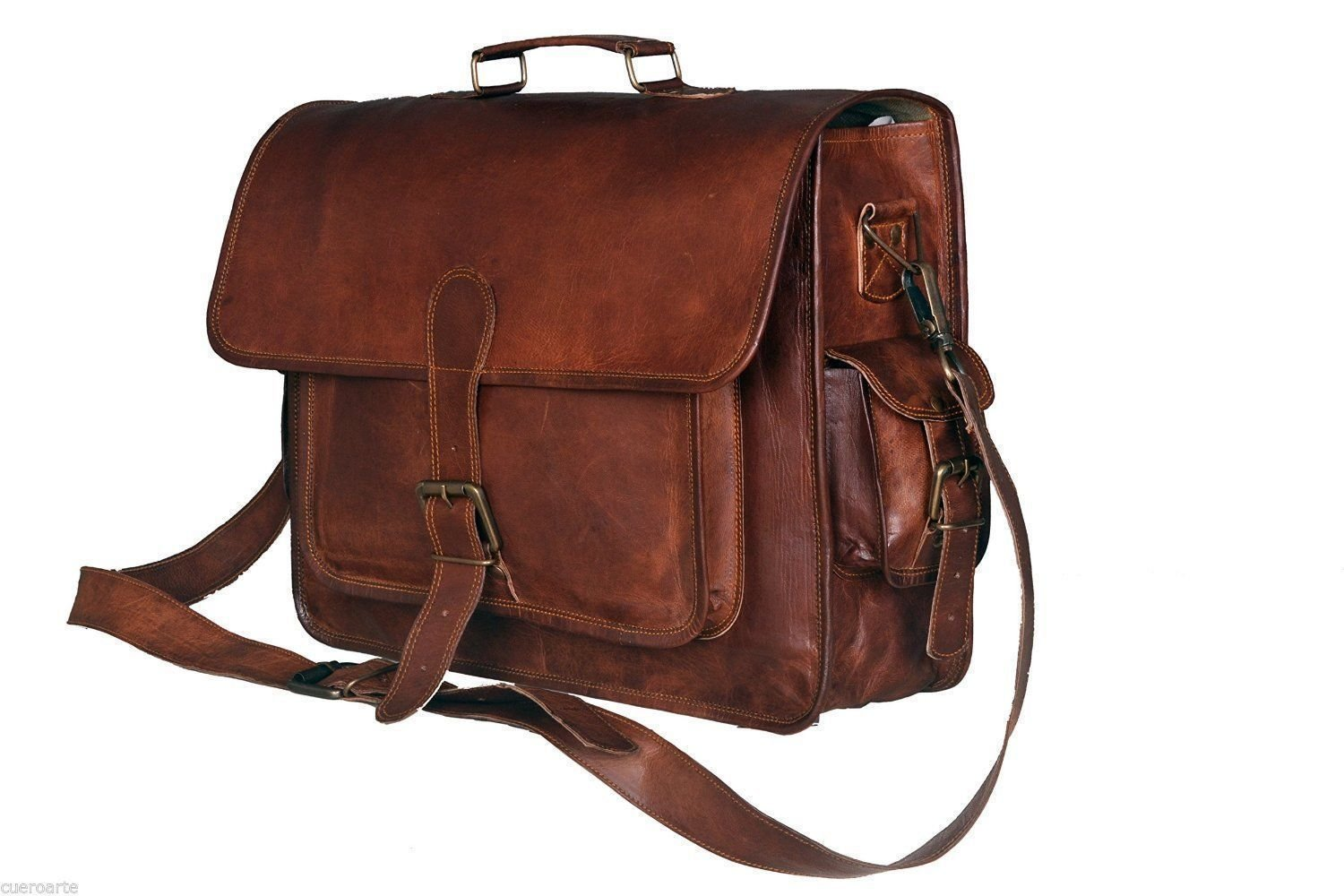 16 Inch Leather Vintage Crossbody Messenger Courier Satchel Bag Gift Men Women ~ Business Work Briefcase Carry Laptop Computer Book Handmade Rugged & Distressed ~ Everyday Office College School