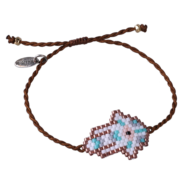 KELITCH Fashion Lucky eyes Friendship Bracelet Handmade Charm Palm Bangle Women gift (White D)