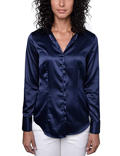 c84dec756a HAWES & CURTIS Womens Fitted Satin Pointed Collar Double Cuff Shirt, Navy,  ...