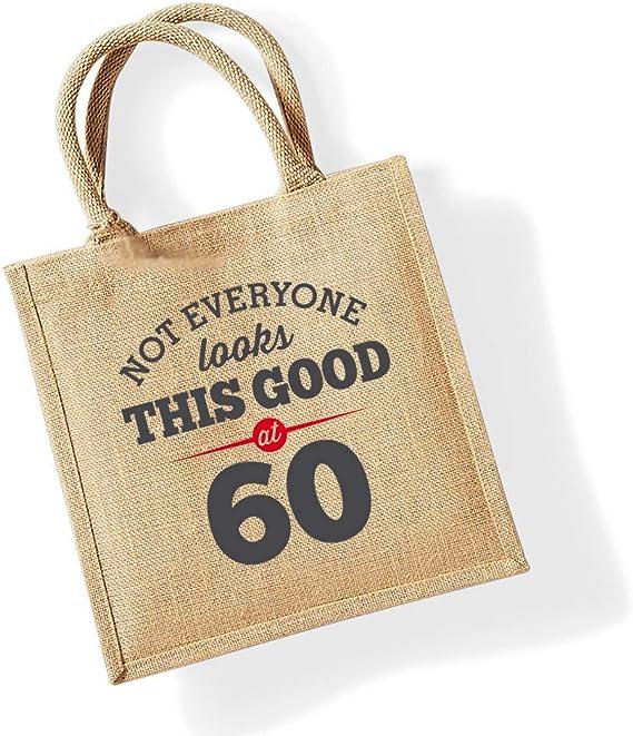 Como regalo Bolsa de yute de 70 cumplea/ños Natural Para mujer recuerdo o para hacer la compra 30 x 30 x 19/cm