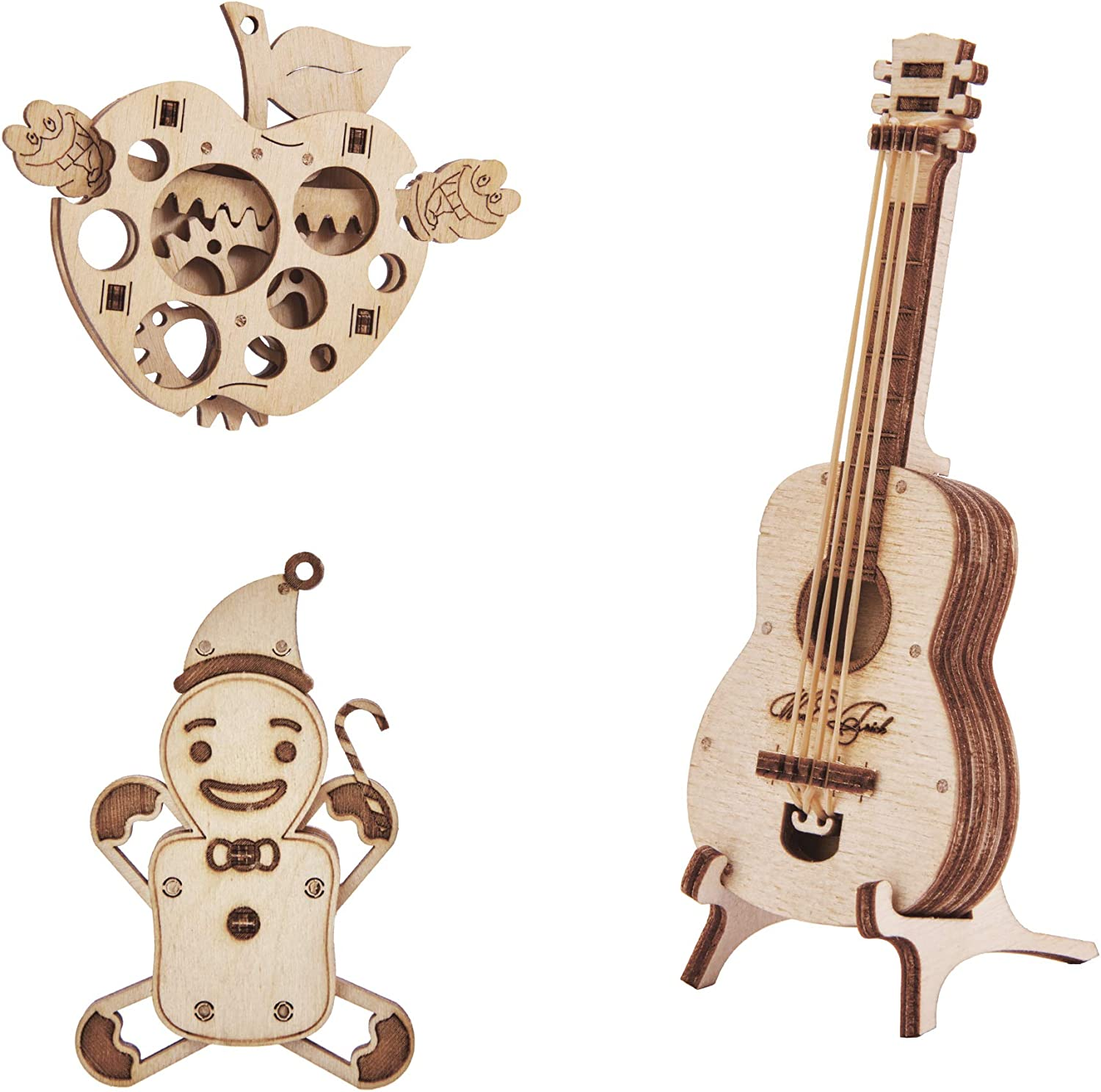 Wood Trick Set of Mini 3D Puzzles - Gingerbread, Guitar, Apple - 3D Wooden Puzzle - Great STEM Project for Beginners