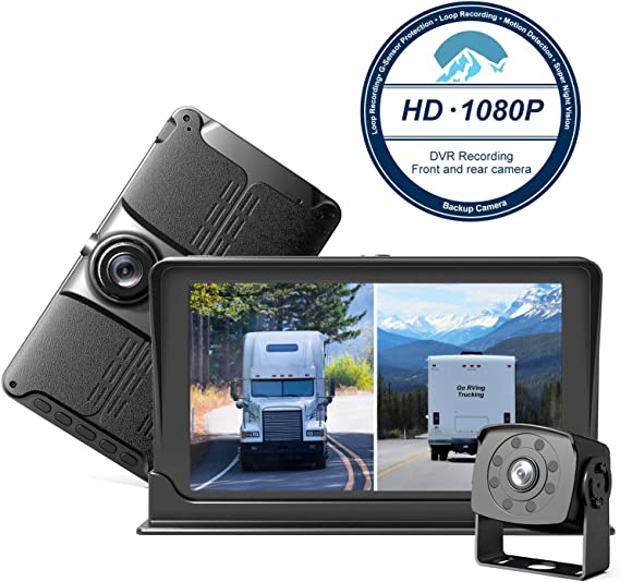 Dash Cam Front and Rear,Homder 7 Monitor Front Lens with G-Sensor//Loop Recording//Motion Detection,IP69 Night Vision Rear View Camera Reversing Backup Camera for Trucks,Bus,Van,RV,Trailer
