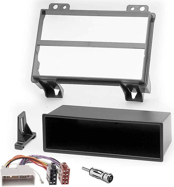 Sound-way Kit Montaje Autoradio, Marco 1 DIN Radio para Coche, Adaptador Antena, Cable Conector ISO Compatible con Ford Fiesta, Fusion