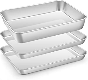 Toaster Oven Baking Sheet Pan Set, E-far 10.5 x 8.3 Inch Stainless Steel Small Cookie Sheet with Rectangle Cake Pan Bakeware for Cooking, Healthy & Non-toxic, Stackable & Dishwasher Safe (3-Piece)