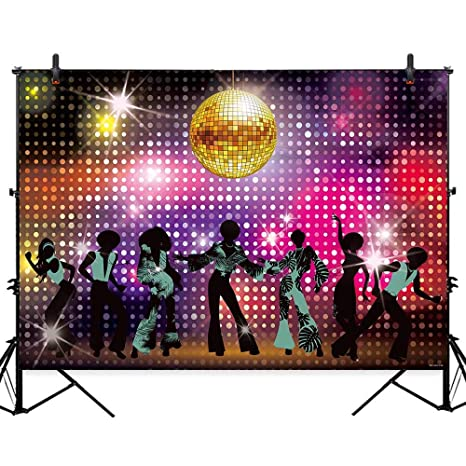 Allenjoy 7x5ft Vintage Disco Night Theme Neon Dance Party Backdrop Adults Shiny 80s 90s Birthday Banner