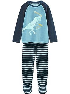 f7909627c2a70 Vertbaudet Pyjama velours avec pieds garçon Ivoire 12 A  Amazon.fr ...